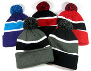 Black And White Strips Knit Pom Pom Beanie For Adults Embroidery Logo Founded