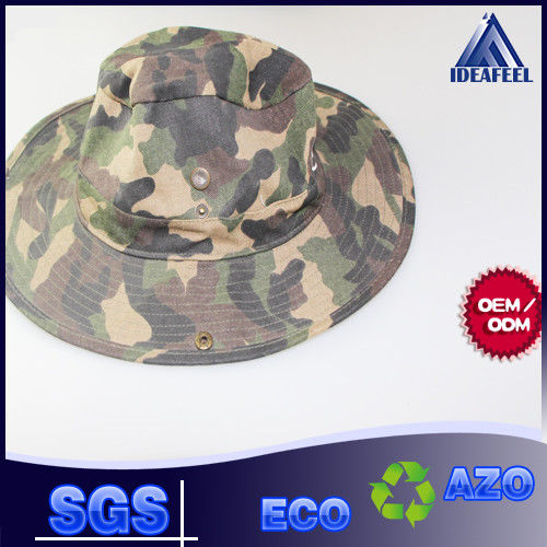 Wide Brim Camo Cotton Bucket Hat Woven Label / Sun Protection Available