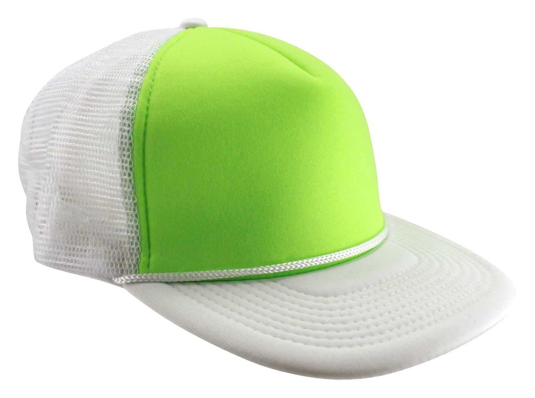 Neon Colors Foam Mesh Trucker Hats For Party String Brim 5 Panels TC Sweatband