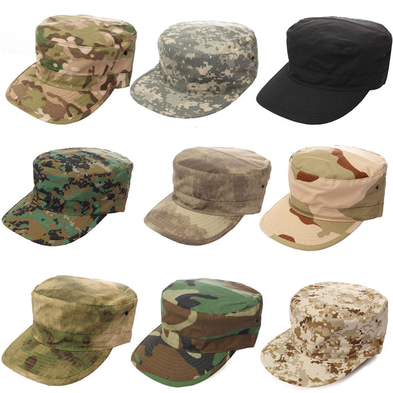 Military Camo Flat Top Army Cap Embroidery Logo / Fitted Strap Closure Available