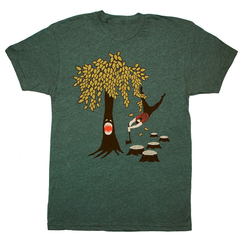 Unisex Custom Screen Printed T Shirts Funny Gaming Woodland Flannel Nature Beard Tee