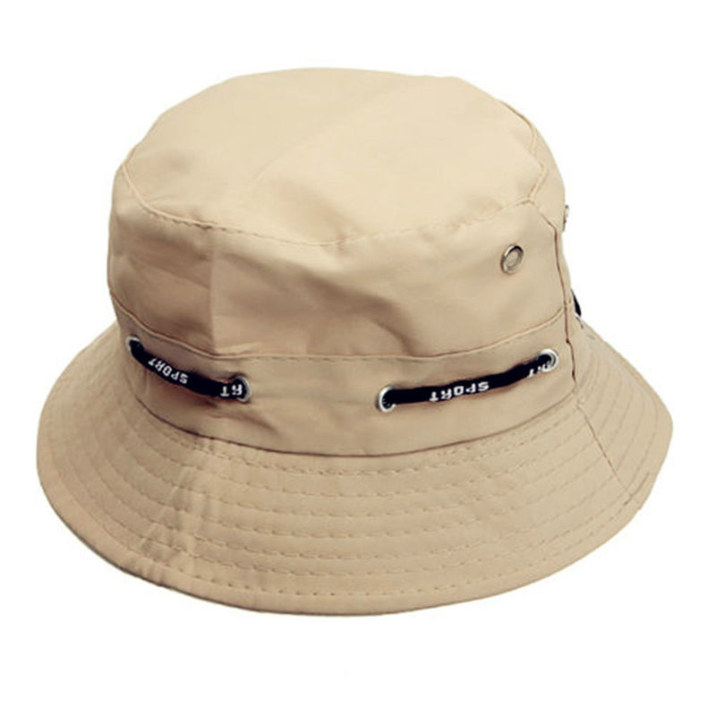 Summer Unisex Bucket Hat Boonie Hunting Fishing Outdoor Cap Wide Brim Nylon Strings