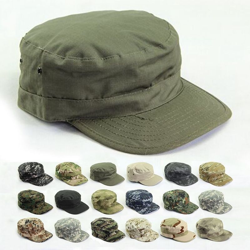 Vintage Cotton Flat Top Military Cap Solid Color Summer Autumn Spring Visor Hat
