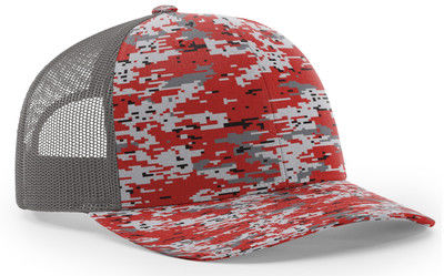 Sublimated Camo Pattern Mesh Trucker Hats Adjustable Snapback Caps Embroidery Logo